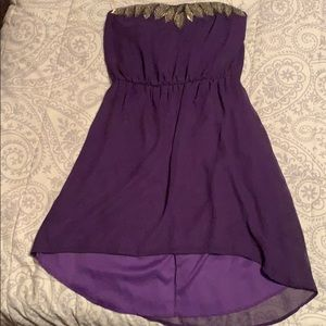 Strapless purple dress with beading detail